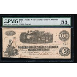 1862-63 $10 Confederate States of American Note PMG 55