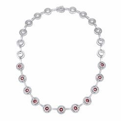 14KT White Gold 3.85ctw Ruby and Diamond Necklace