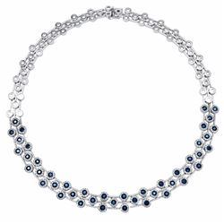 14KT White Gold 7.24ctw Blue Sapphire and Diamond Necklace