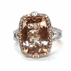 14KT Two Tone Gold 5.00ct Morganite and Diamond Ring