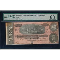 1864 $10 Confederate Sates of America Note PMG 63