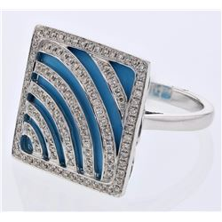 14KT White Gold 11.00ct Turquoise and Diamond Ring