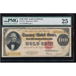 1922 $ 100 Large Gold Certificate PMG 25