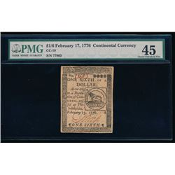 1776 $1/6 Dollar Continental Currency PMG 45
