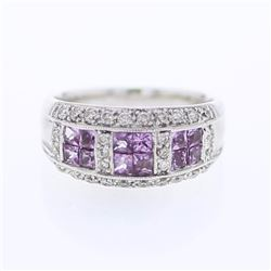 18KT White Gold 1.04ctw Pink Sapphire and Diamond Ring