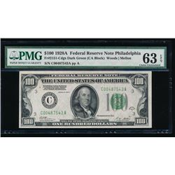 1928A $100 Philadelphia Federal Reserve Note PMG 63EPQ