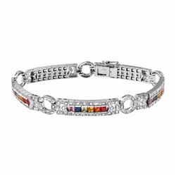 14KT White Gold 3.82ctw Multi Color Sapphire and Diamond Bracelet