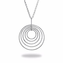 Sterling Silver Dangle Diamond Cut Circle Necklace