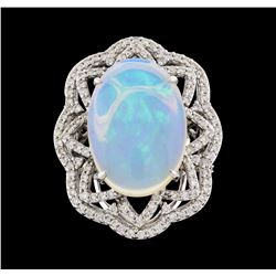 14KT White Gold 6.16ct Opal and Diamond Ring