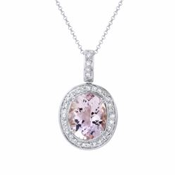 14KT White Gold 4.60ct Amethyst and Diamond Pendant with Chain