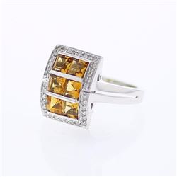 14KT White Gold 1.92ctw Citrine and Diamond Ring
