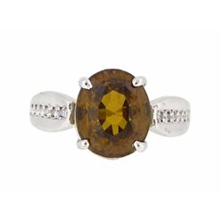 14KT White Gold 7.75ct Orangy Brown Zircon and Diamond Ring