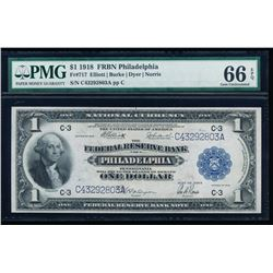 1918 $1 Philadelphia Federal Reserve Bank Note PMG 66EPQ