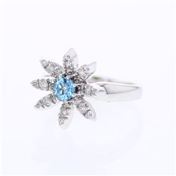 14KT White Gold 0.47ct Blue Topaz and Diamond Ring