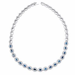 14KT White Gold 4.83ctw Blue Sapphire and Diamond Necklace
