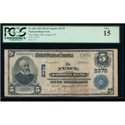 1902 $5 Nyack National Bank Note PCGS 15