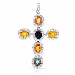 14KT White Gold 9.76ctw Multi Color Sapphire and Diamond Pendant