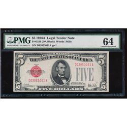 1928A $5 Legal Tender Note PMG 64