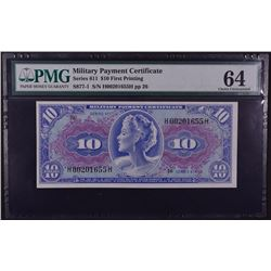 1964-1969 $10 Military Payment Certificate PMG 64