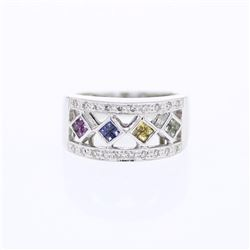 14KT White Gold 0.43ctw Multi Color Sapphire and Diamond Ring