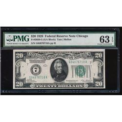 1928 $20 Chicago Federal Reserve Note PMG 63EPQ