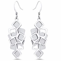 Sterling Silver Textured Polished Brushed Dangle Earrings