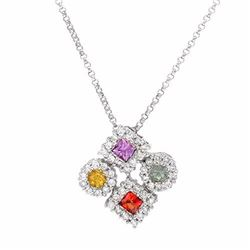 14KT White Gold 0.73ctw Multi Color Sapphire and Diamond Pendant with Chain