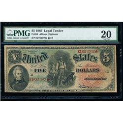 1869 $5 Legal Tender Note PMG 20