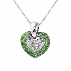 14KT White Gold 1.22ctw Tsavorite and Diamond Pendant with Chain