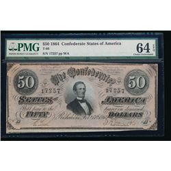 1864 $50 Confederate States of America Note PMG 64EPQ