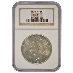 1922-S $1 Peace Silver Dollar Coin NGC MS64