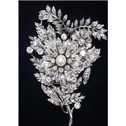 Platinum 9.30ctw Pearl and Diamond Brooch