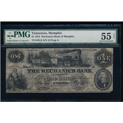 1854 $1 Mechanics Obsolete Bank Note PMG 55NET