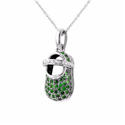 14KT White Gold 0.99ctw Green Garnet and Diamond Pendant with Chain