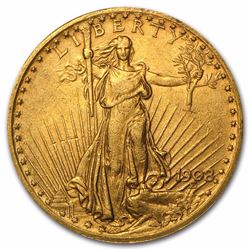 1908 $20 Saint Gaudens Double Eagle Gold Coin with Motto