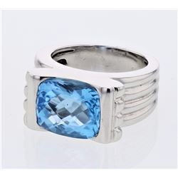 14KT White Gold 7.26ct Blue Topaz Ring
