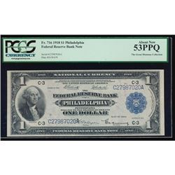 1918 $1 Philadelphia Large Federal Reserve Bank Note PCGS 53PPQ