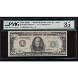 1934A $500 St Louis Federal Reserve Note PMG 35