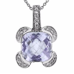 14KT White Gold 3.63ct Amethyst and Diamond Pendant with Chain