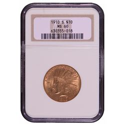 1910-S $10 Indian Head Eagle Gold Coin NGC MS60