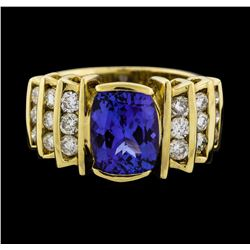 14KT Yellow Gold 2.56ct Tanzanite and Diamond Ring