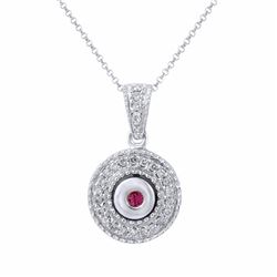 14KT White Gold Ruby and Diamond Pendant with Chain