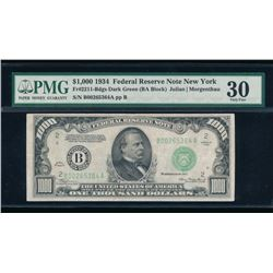 1934 $1000 New York Federal Reserve Bank Note PMG 30