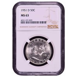 1951-D Franklin Half Dollar Coin NGC MS63