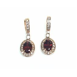 14KT Rose Gold 5.00ctw Garnet and Diamond Earrings