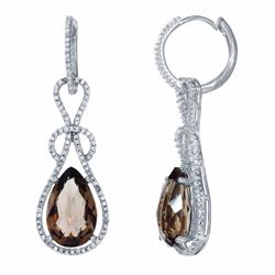 14KT White Gold 7.08ctw Smokey Topaz and Diamond Earrings