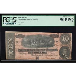 1864 $10 Confederate Sates of America Note PCGS 50PPQ