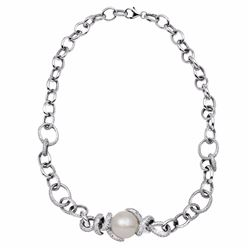 14KT White Gold 20.44ct Pearl and Diamond Necklace