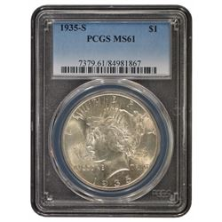 1935-S $1 Peace Silver Dollar Coin PCGS MS61