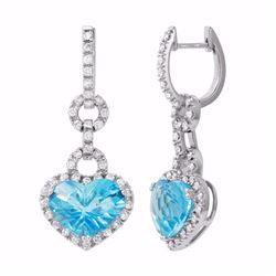 14KT White Gold 11.43ctw Blue Topaz and Diamond Earrings